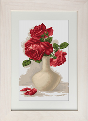 Petit Point Borduurpakket Red Roses in Vase - Luca-S