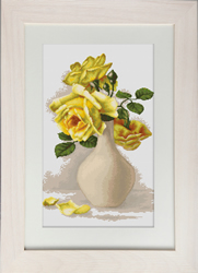 Petit Point Borduurpakket Yellow Roses in Vase - Luca-S