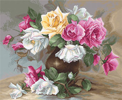 Cross stitch kit Vase with Roses - Luca-S