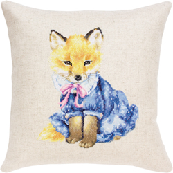 Cross stitch kit Pillow Fox in Dress - Borduurpakket