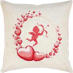Cross stitch kit Pillow Cupid - Borduurpakket