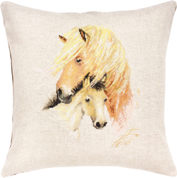Cross stitch kit Pillow Horse with Foal - Borduurpakket