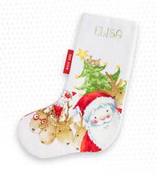 Borduurpakket Christmas Stocking Santa and Reindeer - Luca-S