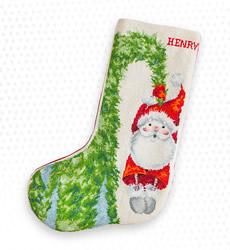 Borduurpakket Christmas Stocking Santa Hanging on the Tree - Luca-S