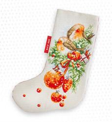 Borduurpakket Christmas Stocking Robin - Luca-S
