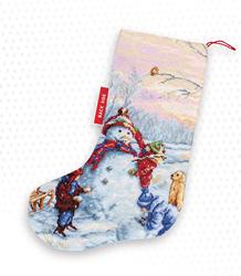 Borduurpakket Christmas Stocking Snowman - Luca-S
