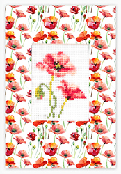 Cross stitch kit Postcard Red Poppies - Borduurpakket