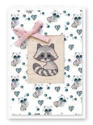 Borduurpakket Postcard Raccoon - Luca-S
