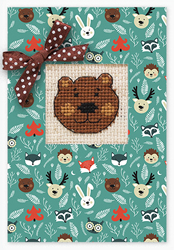 Cross stitch kit Postcard Bear - Borduurpakket