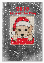 Cross stitch kit Postcard Year of the Dog 2018 - Luca-S