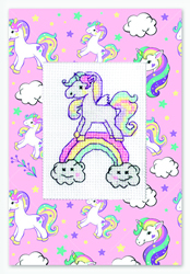 Cross stitch kit Postcard Unicorn Rainbow - Borduurpakket