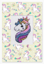 Cross stitch kit Postcard Unicorn - Luca-S