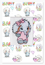 Cross stitch kit Postcard Baby Elephant Pink - Luca-S