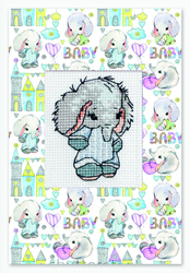 Cross stitch kit Postcard Baby Elephant Blue - Borduurpakket