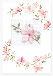 Cross stitch kit Postcard Pink Flower - Luca-S