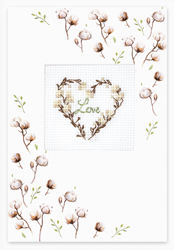 Cross stitch kit Postcard - Love Cotton - Luca-S