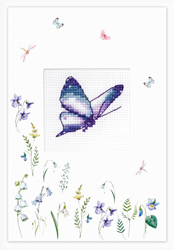 Cross stitch kit Postcard - Butterfly Purple - Luca-S