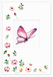 Cross stitch kit Postcard - Butterfly Pink - Luca-S