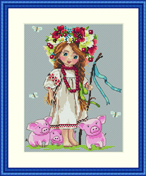 Borduurpakket Shepherd Girl - Merejka