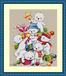 Borduurpakket Christmas Bears - Merejka