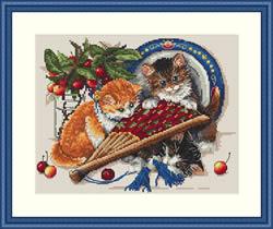 Borduurpakket Kittens & Cherries - Merejka