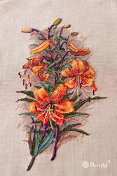 Borduurpakket Vintage Lilies (Linen) - Merejka