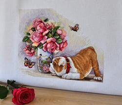 Borduurpakket Bulldog and Butterflies - Merejka