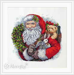 Borduurpakket Santa with Wreath - Merejka