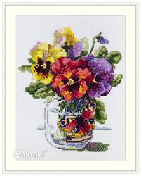Borduurpakket Pansies and Butterfly - Merejka