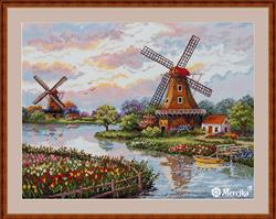Borduurpakket Dutch Windmills - Merejka