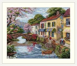 Borduurpakket Quaint Village Shops - Merejka