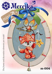 Borduurpakket Mini kit with wooden Frame - Fox - Merejka