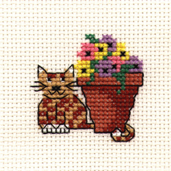 Borduurpakket Flowerpot Cat - Mouseloft