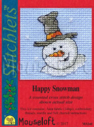 Borduurpakket Happy Snowman - Mouseloft