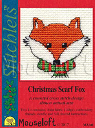 Borduurpakket Christmas Scarf Fox - Mouseloft