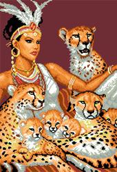 Voorbedrukt Aida A Girl And Cheetahs - Matryonin Posad