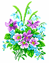 Voorbedrukt Aida Delicate Bouquet - Matryonin Posad