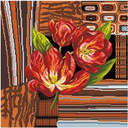 Voorbedrukt Aida Tulips In Brown - Matryonin Posad