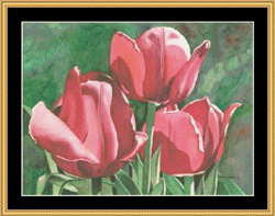 Borduurpatroon Golden Tulips - Mystic Stitch