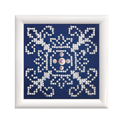 Diamond Dotz White on Blue with Frame - Needleart World