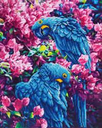 Diamond Dotz Blue Parrots - Needleart World