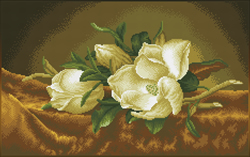 Diamond Dotz Magnolias on gold velvet (aprÞs Martin Johnson Heade) - Needleart World