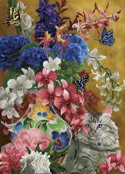 Diamond Dotz Gilded Cat & Flowers - Needleart World