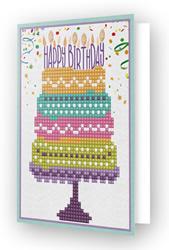 Diamond Dotz Greeting Card Happy Birthday Cake - Needleart World