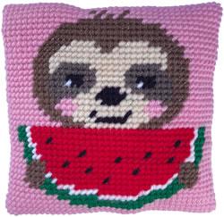 Kussen borduurpakket Sloth Munch - Needleart World