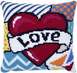 Kussen borduurpakket Patchwork Love - Needleart World