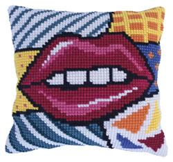 Kussen borduurpakket Patchwork Kiss - Needleart World
