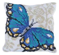 Kussen borduurpakket Blue Butterfly - Needleart World