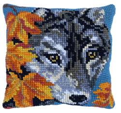 Kussen borduurpakket Autumn Wolf - Needleart World