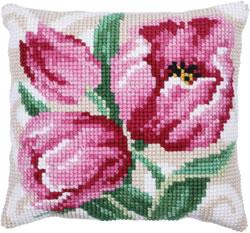 Kussen borduurpakket Pink Tulips - Needleart World